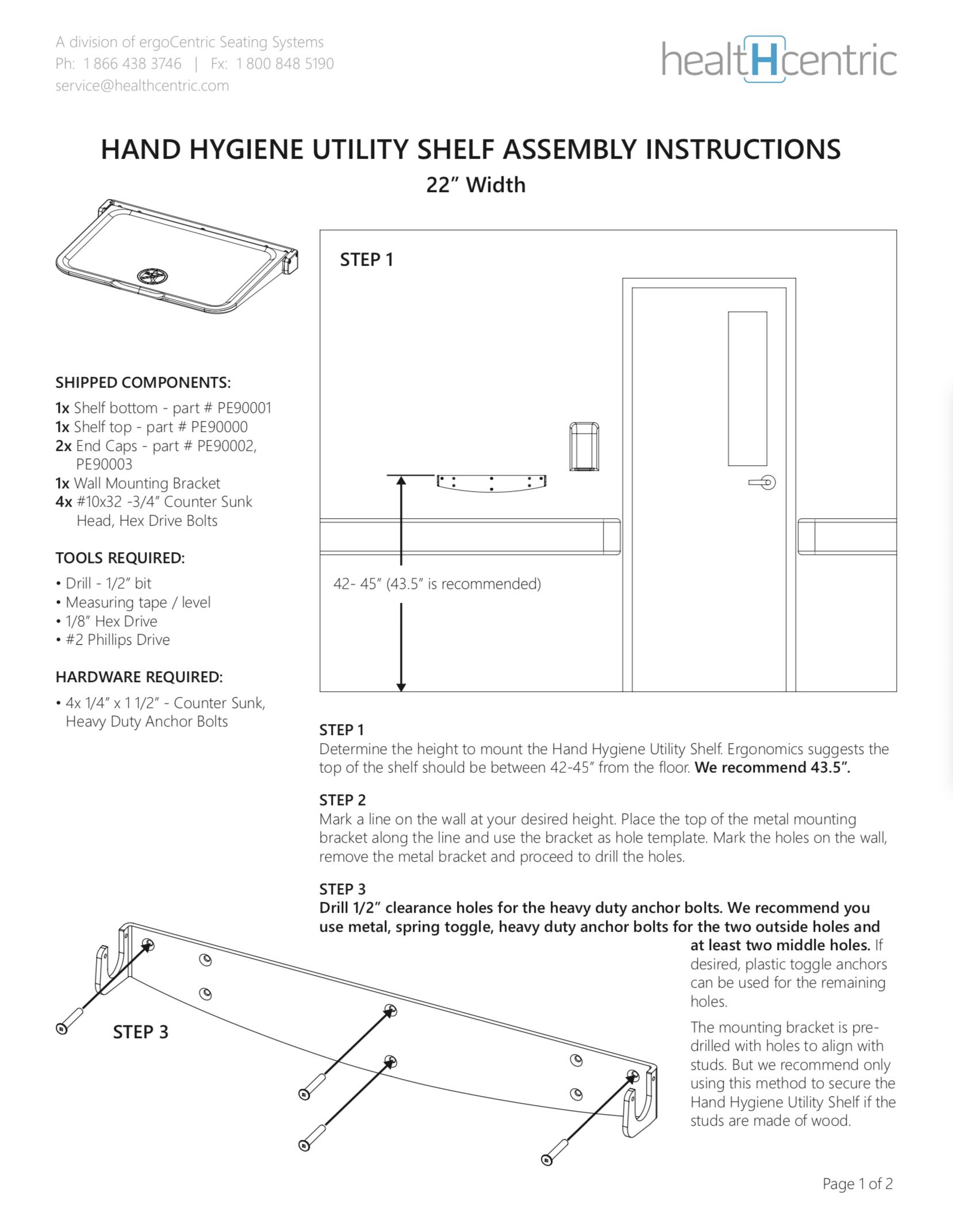 Hand Hygiene Utility Shelf – Assembly Instructions